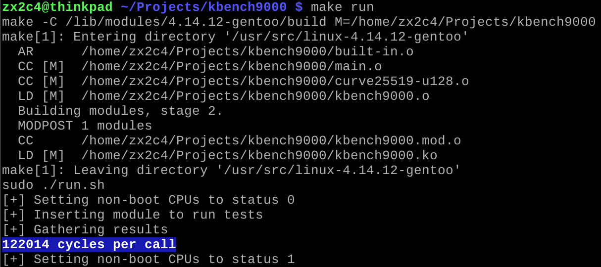 Expected kBench9000 output